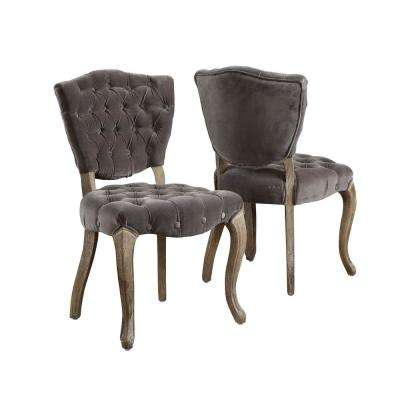 Bates Charcoal Fabric Tufted Dining Chairs (Set of 2)