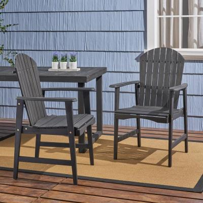 Malibu Dark Grey Solid Wood Outdoor Dining Chairs (2-Pack)