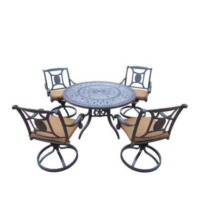 Cast Aluminum 5-Piece Round Patio Dining Set with Sunbrella Cushions