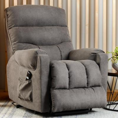 Grey Electric Power Lift Recliner with Side Pocket