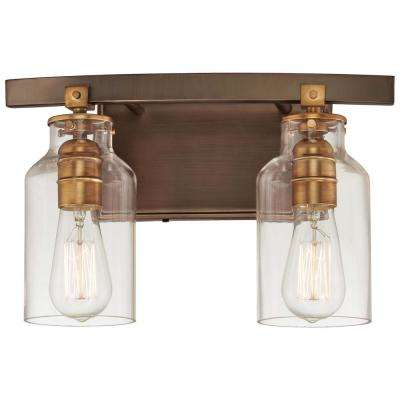 Morrow 2-Light Harvard Court Bronze with Gold HighLights Vanity Light