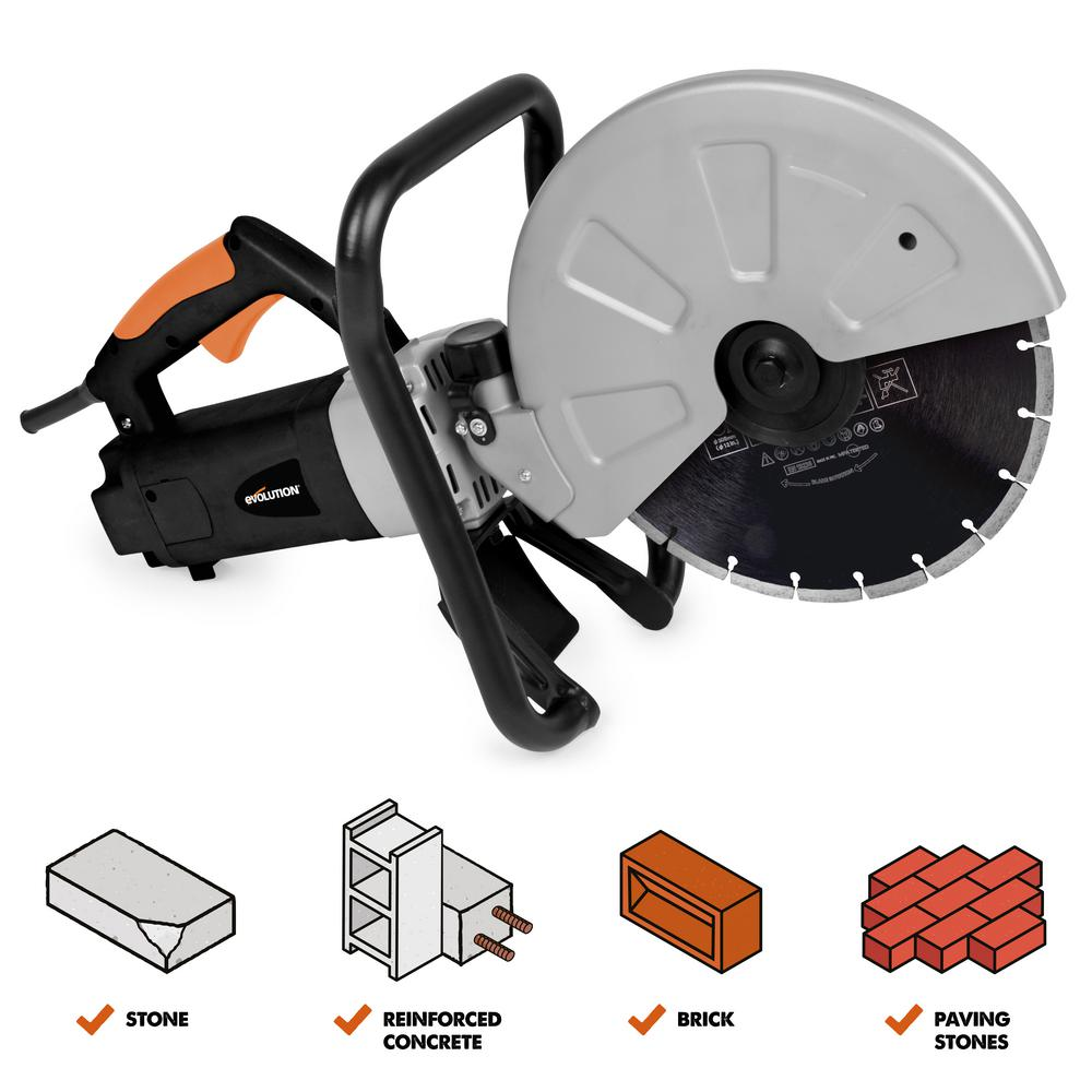 Evolution Power Tools 15 Amp 12 in. Corded Portable Concrete Saw