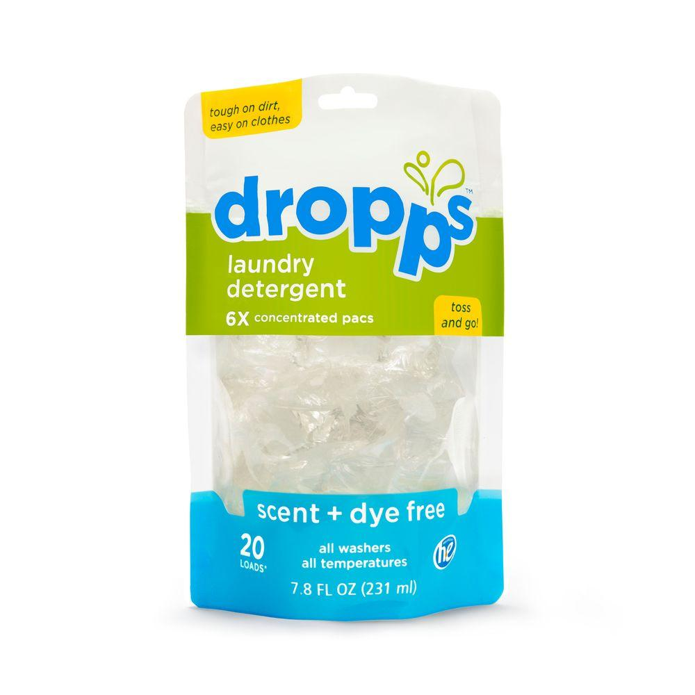 20-Count Dropps Scent and Dye Free Laundry Detergent Pack (Case of