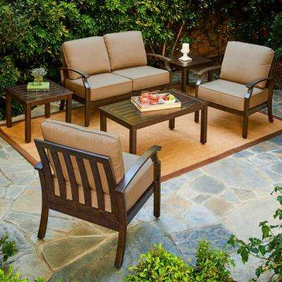 Bridgeport 6-Piece Metal Patio Conversation Set with Tan Cushions