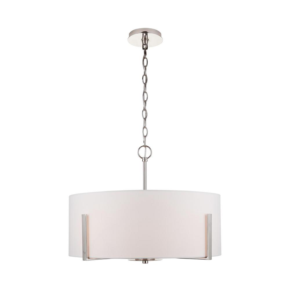 HomeDecoratorsCollection Home Decorators Collection Manhattan 4-Light Polished Nickel Chandelier with White Drum Shade