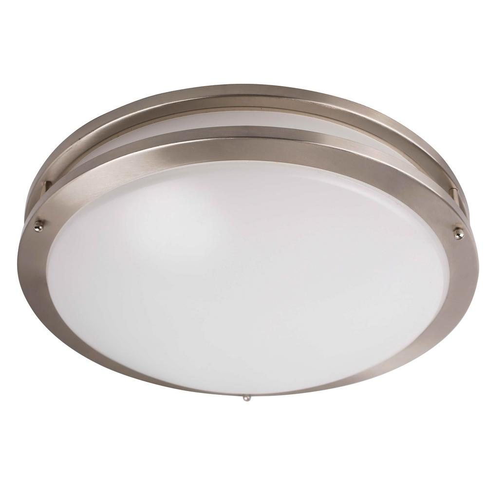 sneakers for cheap e4b8b 3f604 1-Light Integrated LED Flush Mount Ceiling Light in Brushed Nickel