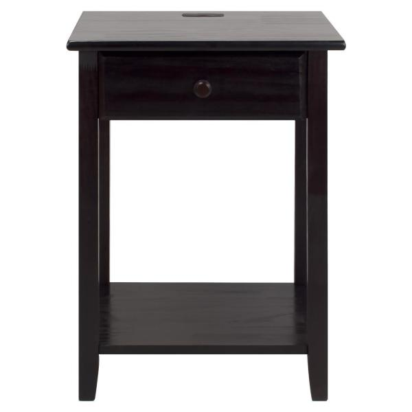 Casual Home Night Owl Espresso Nightstand with USB Port 647-23