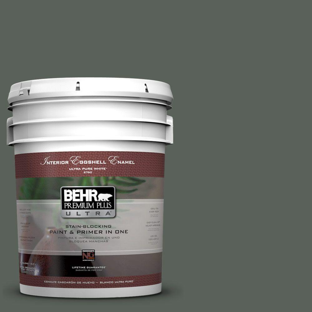 BEHR Premium Plus Ultra 5 gal. #PPF-45 Woodland Moss Eggshell Enamel Interior Paint and Primer in One