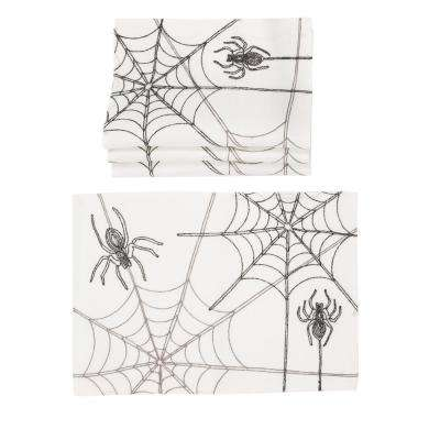 0.1 in. H x 14 in. W x 20 in. D Halloween Spider Web Double Layer Placemats in White (Set of 4)