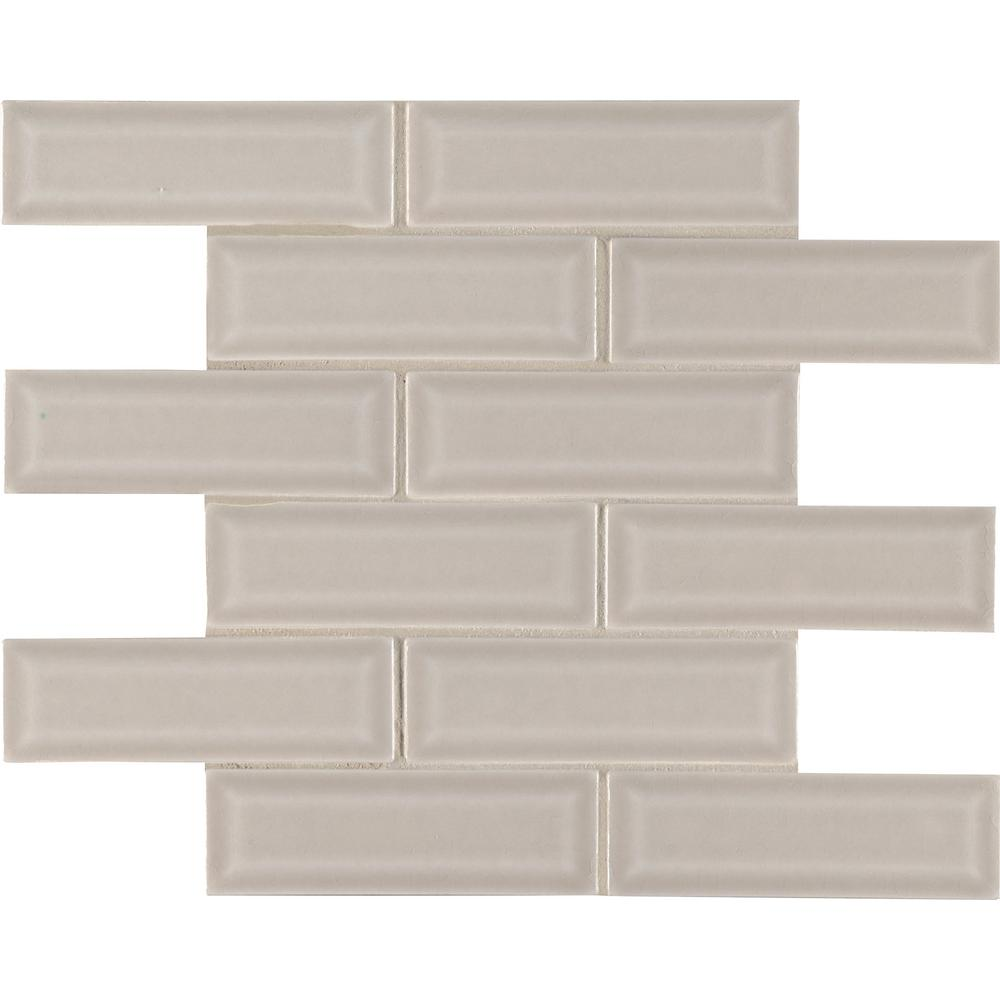 MSI Portico Pearl Beveled 12 in x 12 in. x 10mm Glossy Ceramic Mesh-Mounted Mosaic Tile (10 sq. ft. / case)