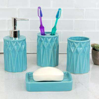 Prism 4-Piece Bath Accessory Set in Turquoise