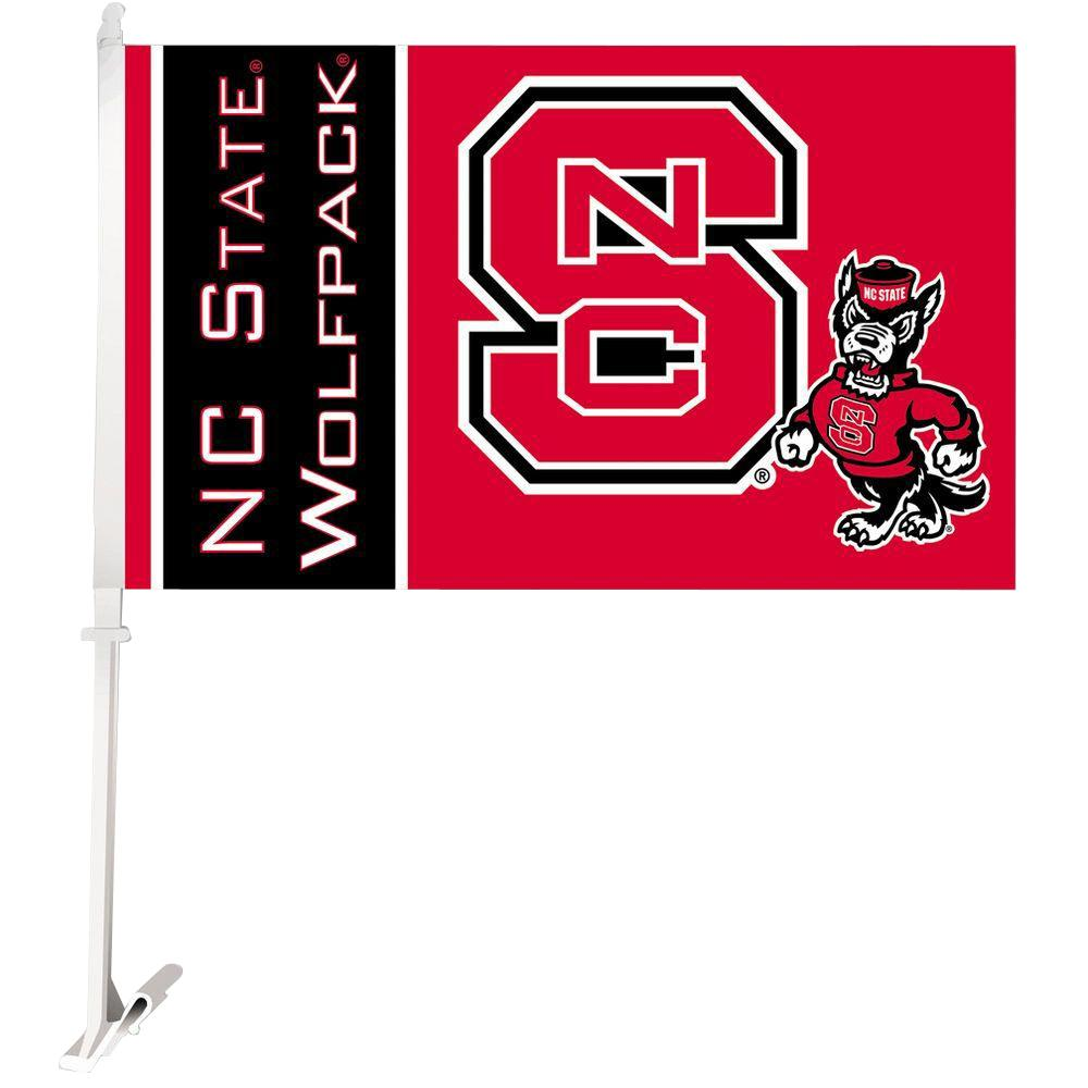 NCAA 11 in. x 18 in. NC State 2-Sided Car Flag