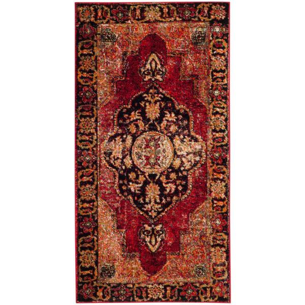 Safavieh Vintage Hamadan Red Multi 3 Ft X 5 Ft Area Rug Vth219a 3 The Home Depot