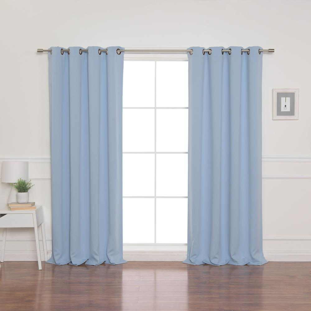 100 in. x 96 in. Flame Retardant Blackout Curtain Panel in SkyBlue
