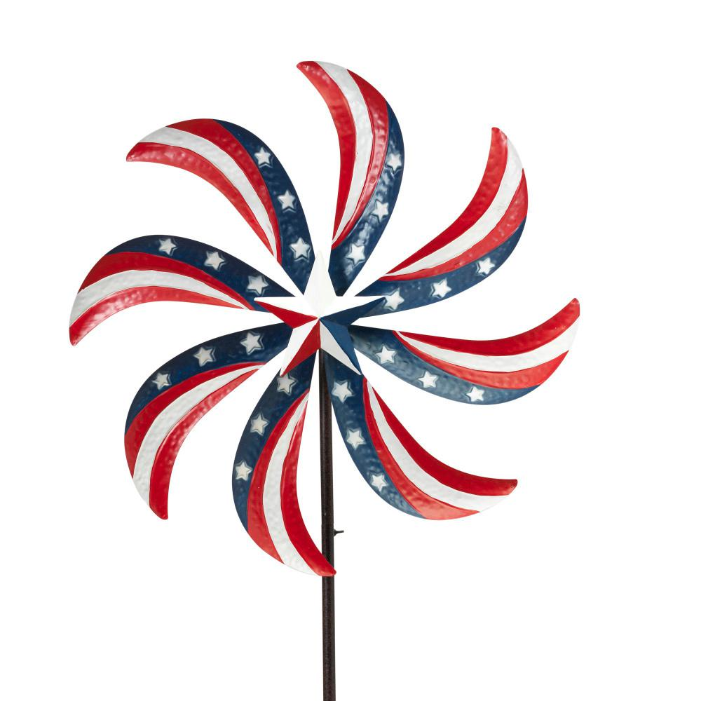 63 in. Tall Metal Patriotic Yard Stake with Wind Spinner