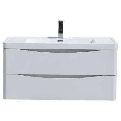 Smile 40 in. W Wall Hung Bath Vanity in High Gloss White with Reinforced Acrylic Vanity Top in White with White Basin