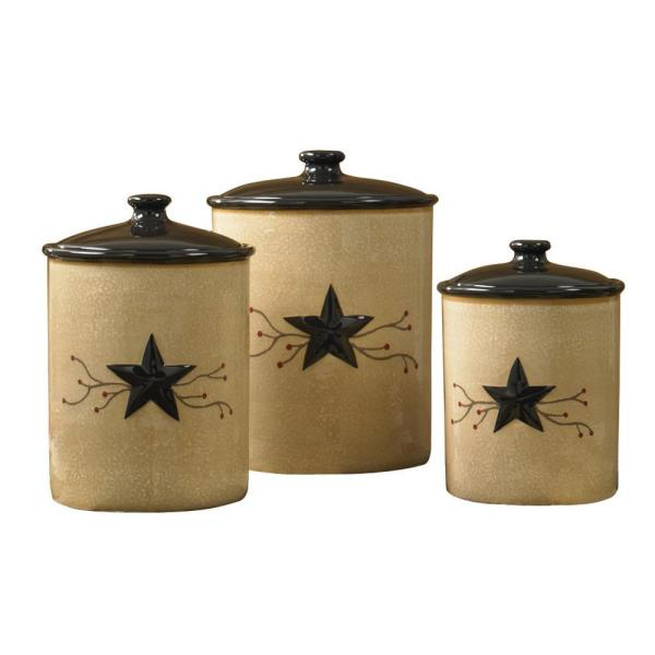 Star Vine Beige 3 Piece Ceramic Canister Set With Matching Airtight Lids
