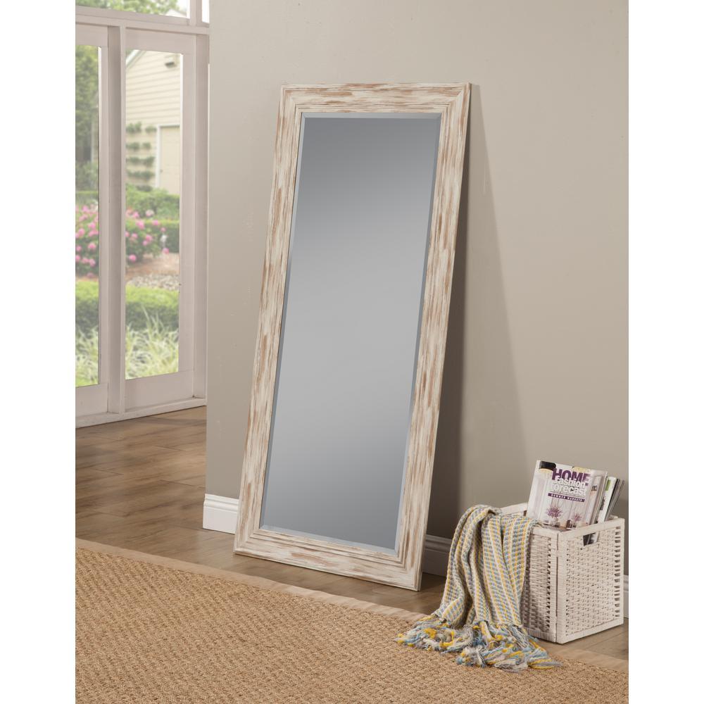 Sandberg Furniture Farmhouse Antique White Wash Leaner Floor Mirror