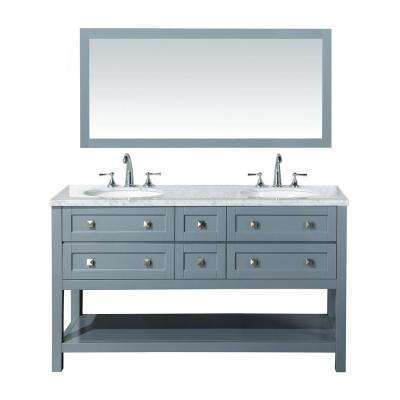 Marla 60 in. W x 22 in. D Vanity in Grey with Marble Vanity Top in Carrara White with White Basins and Mirror