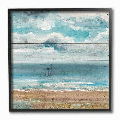 "12 in. x 12 in. ""Ocean View Painted Planked Look"" by Molly Susan Strong Framed Wall Art"