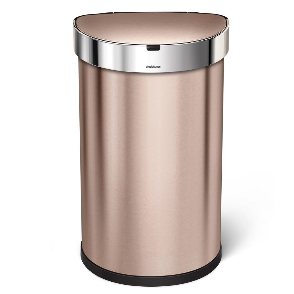 Simplehuman gal semi round rose gold stainless for Gold bathroom bin