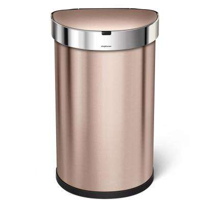 11.88 Gal. Semi-Round Rose Gold Stainless Steel Sensor Can