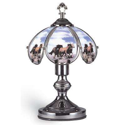 14.25 in. Running Horses Black Chrome Touch-On Table Lamp