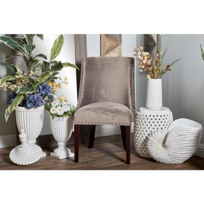 Brown Wood and Fabric Cushioned Dining Chair
