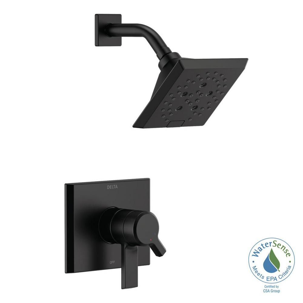 Delta Pivotal 1-Handle Wall-Mount Shower Trim Kit with H2Okinetic Technology in Matte Black (Valve Not Included)
