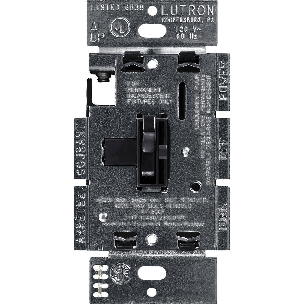 Lutron Toggler 600 Watt 3 Way Preset Dimmer Black Ay 603p Bl The Installation