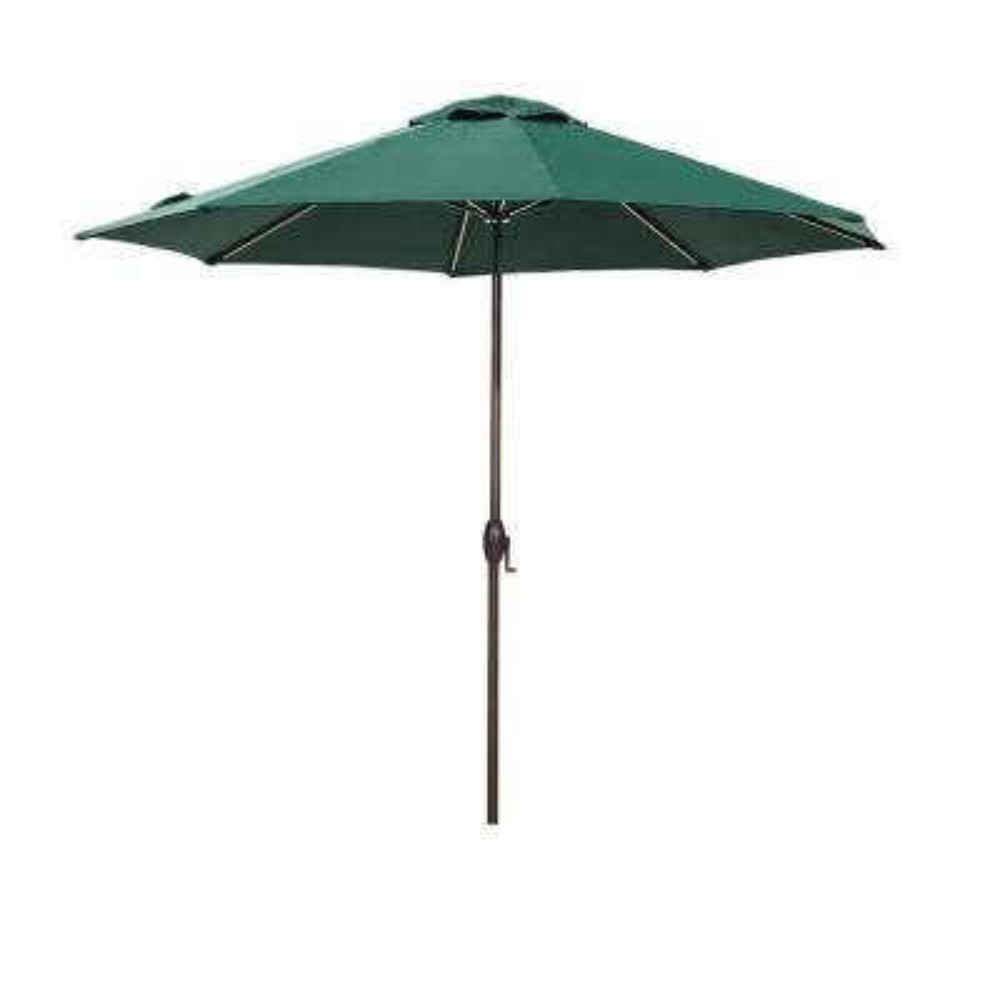 11 ft. Aluminum Market Push Button Tilt Patio Umbrella in Dark Green