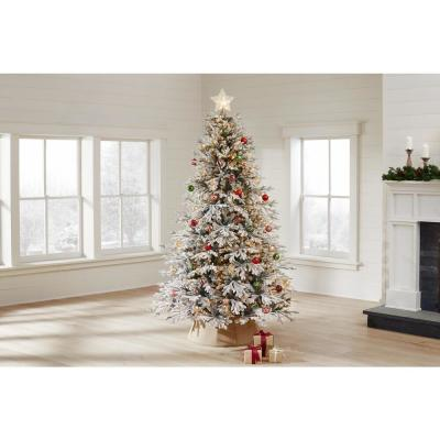 7.5 ft Kenwood Frasier Fir Flocked LED Pre-Lit Artificial Christmas Tree with 1000 Warm White Lights