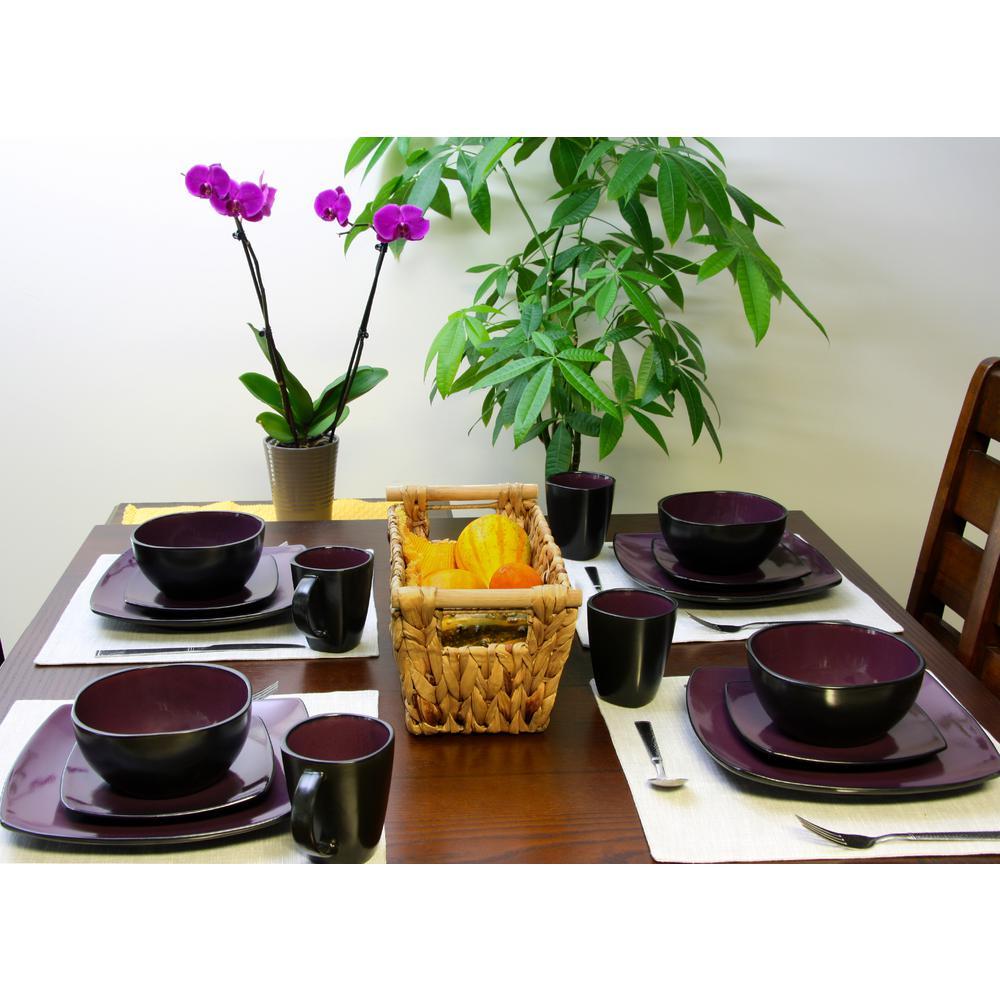 Gibson Home Soho Lounge 16-Piece Purple Dinnerware Set