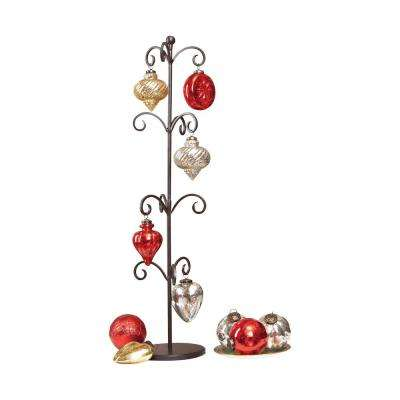 Festival 9 in. x 33 in. Decorative Iron Stand With Red, Silver and Gold Glass Ornaments (Set of 12)