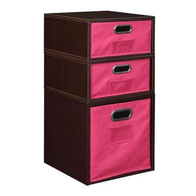Cubo 13 in. x 26 in. Truffle 1 Full Cube and 2 Half Cube Organizer with Pink Foldable Storage Bins