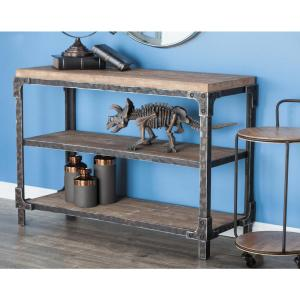 Internet #302077797. Null 3 Shelf Wooden Console Table