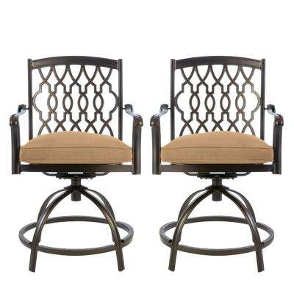 Ridge Falls Dark Brown Aluminum Outdoor Patio Swivel Dining Chair with CushionGuard Toffee Tan Cushions (2-Pack)
