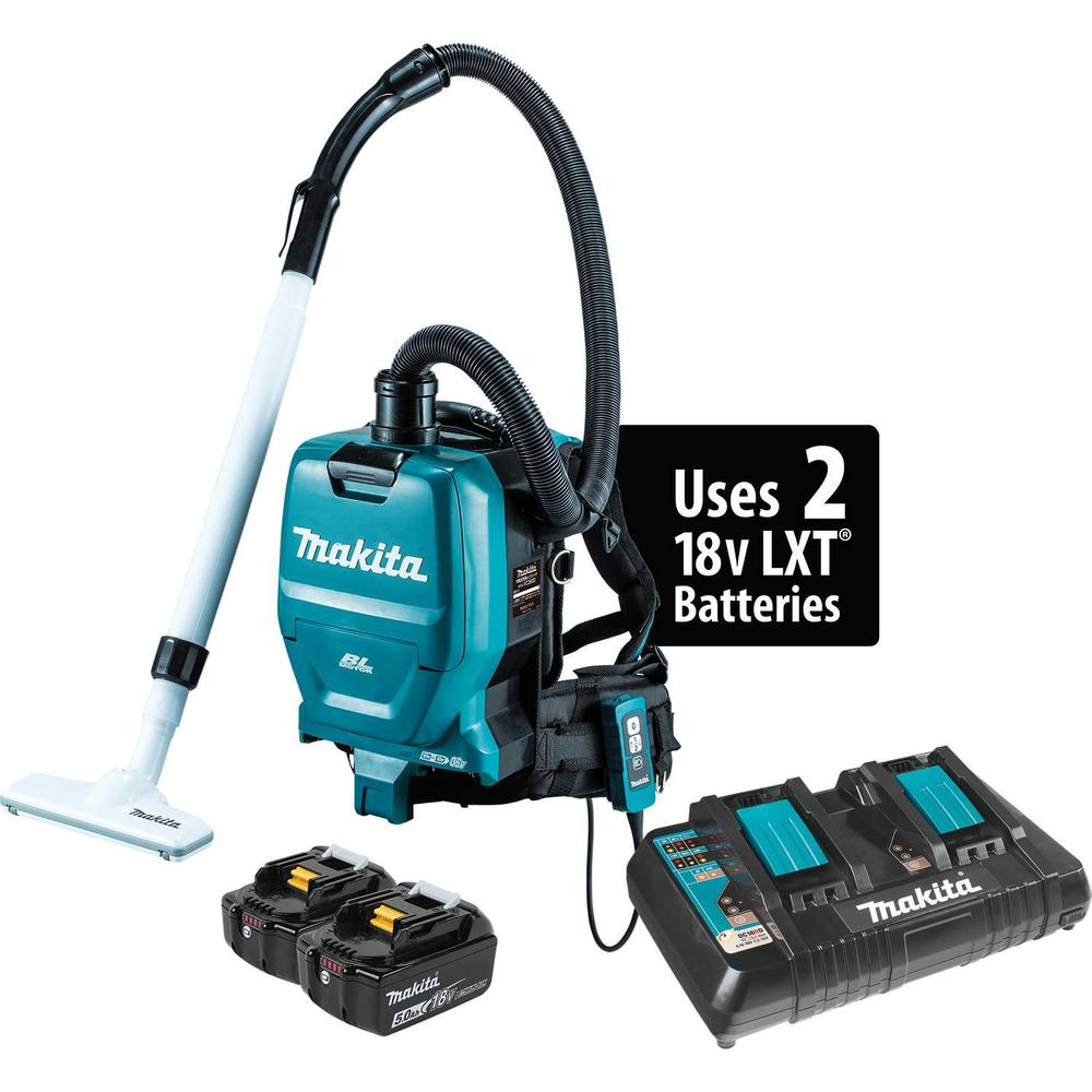 282f0e5c0513 Makita 18-Volt X2 LXT 5.0Ah Lithium-Ion 36-Volt Brushless Cordless 1 2 Gal.  HEPA Filter Backpack Dry Dust Extractor Vacuum Kit-XCV05PT - The Home Depot