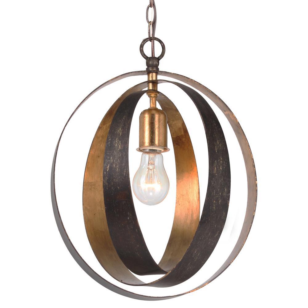Luna 1-Light Bronze and Gold Sphere Mini Chandelier