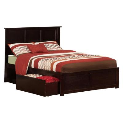 Madison Full Platform Bed with Flat Panel Foot Board and 2-Urban Bed Drawers in Espresso