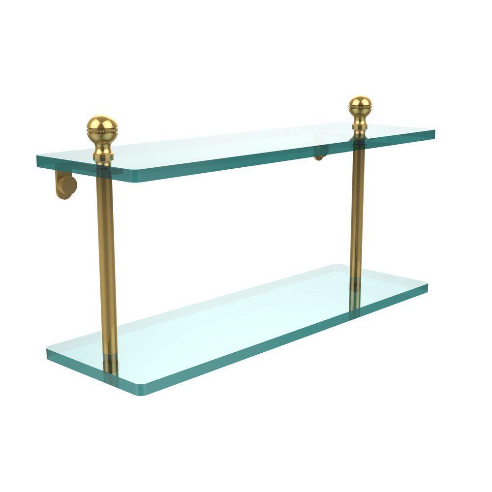 Mambo 16 in. L x 8 in. H x 5 in. W 2-Tier Clear Glass Bathroom Shelf in Polished Brass