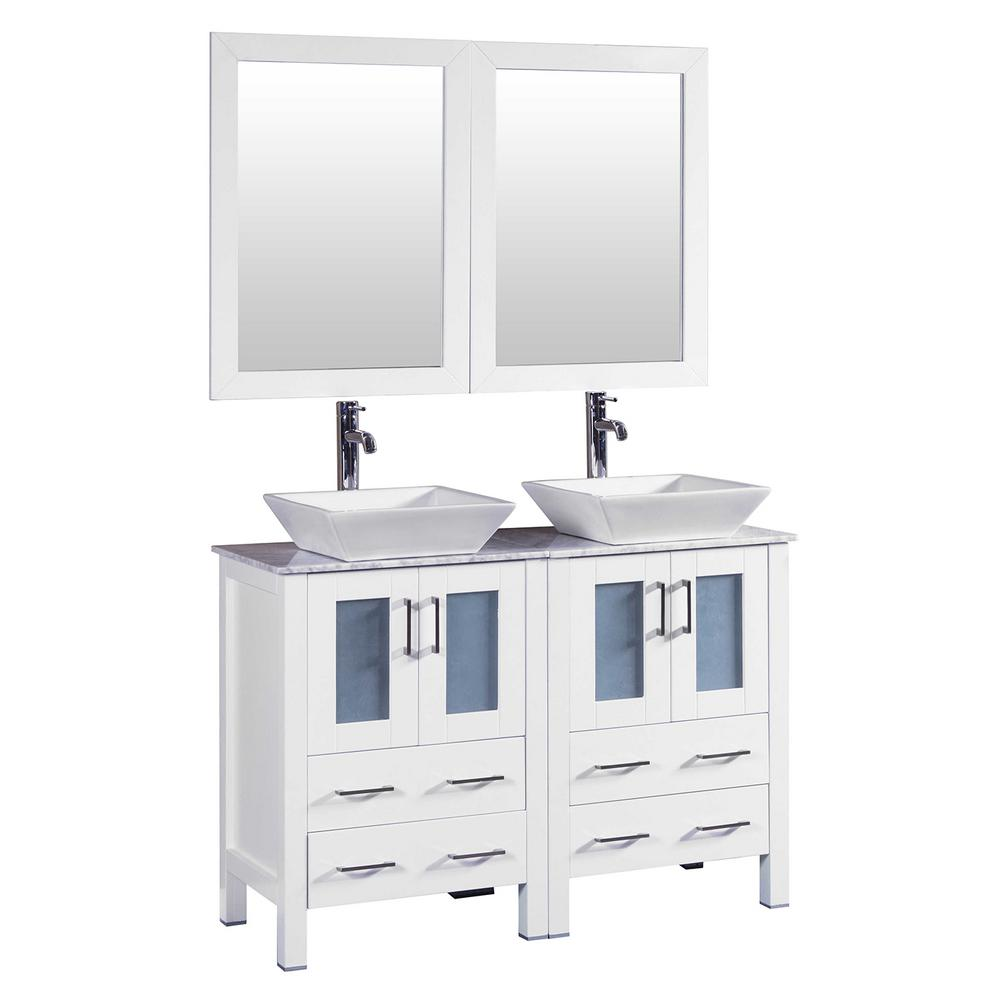 Bosconi 48 in. W Double Bath Vanity in White with Carrara Marble Vanity Top with White Basin and Mirror