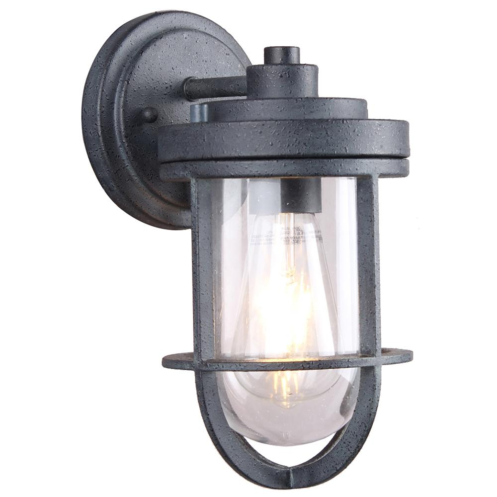 DSI 1-Light Weathered Zinc Clear Glass Outdoor Wall Lantern Sconce with LED Bulb
