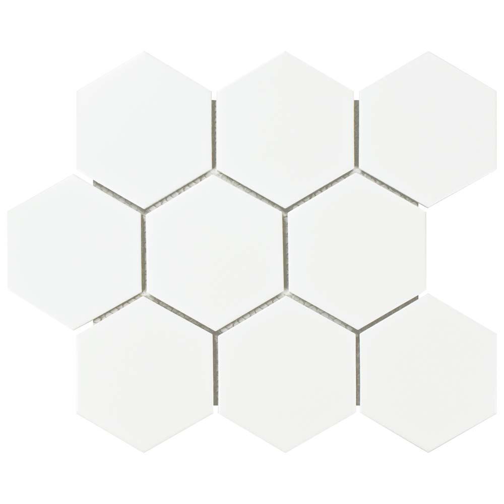 Merola Tile Metro Super Hex Matte White 10-7/8 in. x 11-3/8 in. x 6 mm Porcelain Mosaic Tile (8.78 sq. ft. / case)