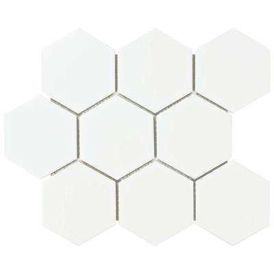 Metro Super Hex Matte White 10-7/8 in. x 11-3/8 in. x 6 mm Porcelain Mosaic Tile (8.78 sq. ft. / case)