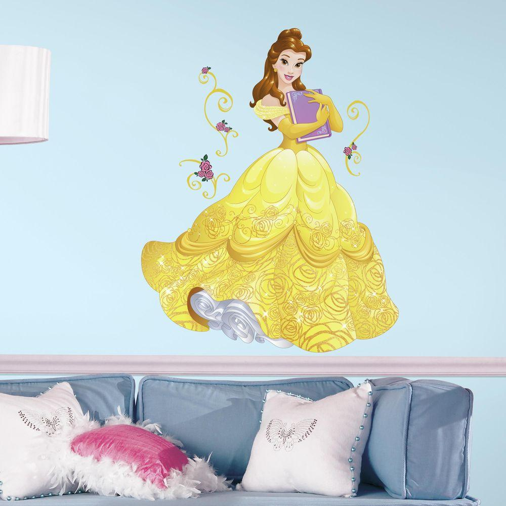 2.5 in. x 27 in. Disney Sparkling Belle 13-Piece Peel and