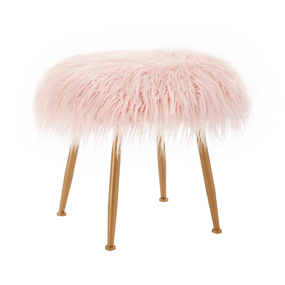 Linon Home Decor Kelly 17 75 In Pink Faux Fur Stool