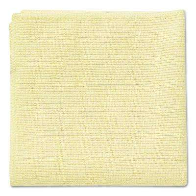 16 in. x 16 in. Light Commercial Yellow Microfiber Cloth (24-Count)
