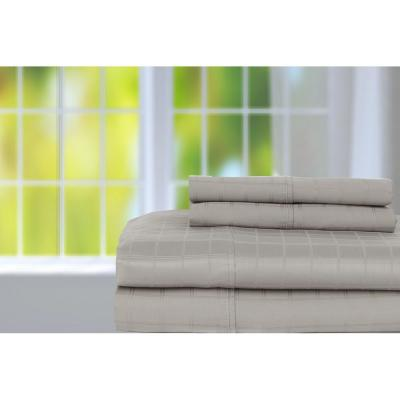 4-Piece Grey Solid 350 Thread Count Cotton King Sheet Set
