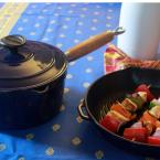 Chasseur 2.5 Qt. Red French Enameled Cast Iron Saucepan with Lid and Wood Handle
